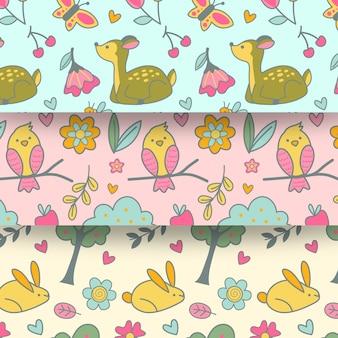Diseño plano primavera de patrones sin fisuras con animales y pájaros