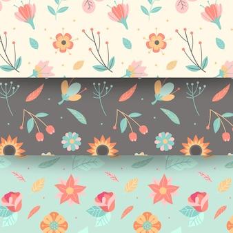 Diseño plano primavera de patrones sin fisuras con flores en flor