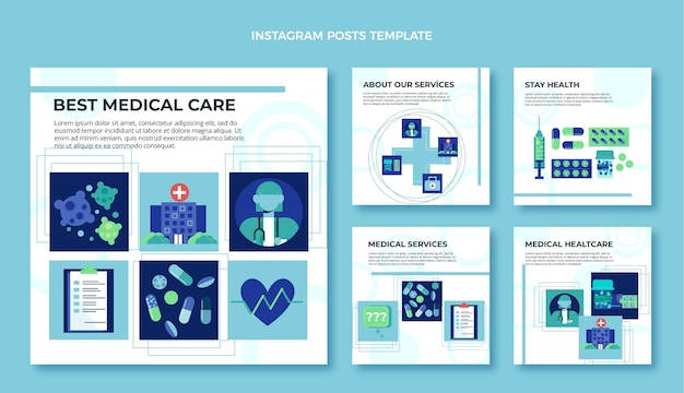 Diseño plano de publicación médica de instagram.