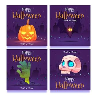 Diseño plano de publicaciones de instagram de halloween