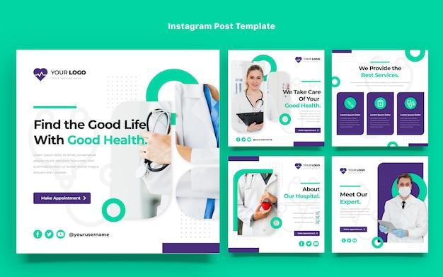 Diseño plano de publicaciones médicas de instagram.
