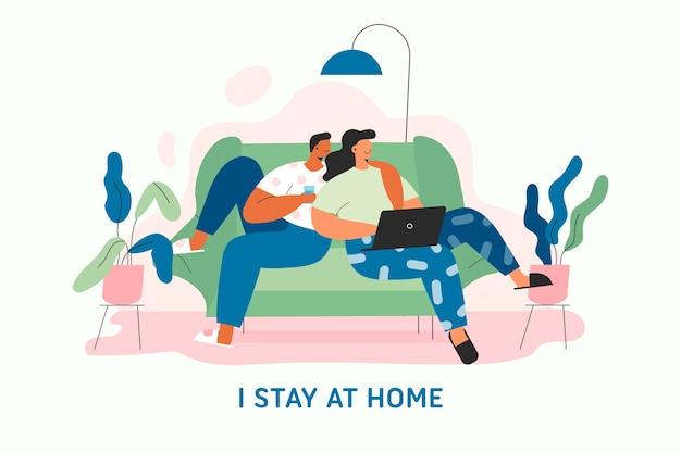 Diseño plano quedarse en casa concepto