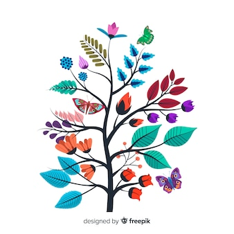 Diseño plano de rama floral colorido