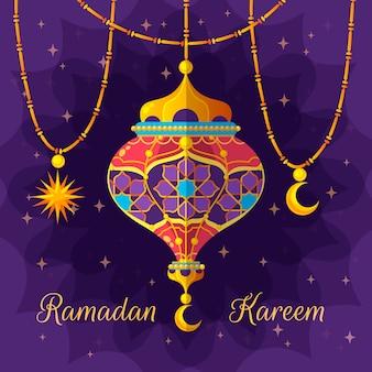 Diseño plano ramadan kareem con elementos tradicionales.