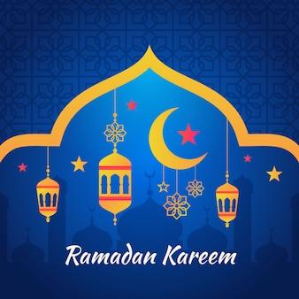 Diseño plano de ramadán kareem