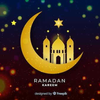 Diseño plano ramadán luna creciente