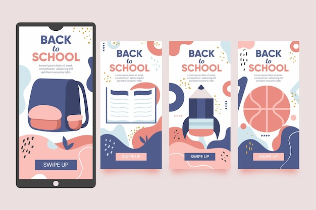 Diseño plano de regreso a la escuela colección de historias de instagram