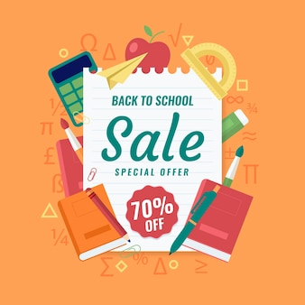 Diseño plano de regreso a la escuela concepto de ventas