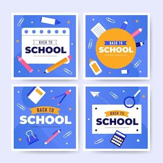 Diseño plano de regreso a la escuela instagram post collection