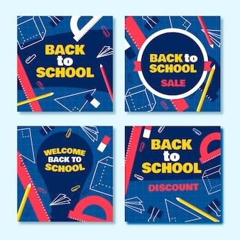 Diseño plano de regreso a la escuela instagram posts