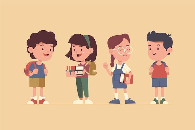 Diseño plano de regreso a la escuela para niños