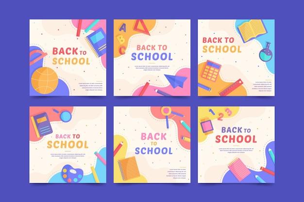 Diseño plano de regreso a la escuela publicación de instagram