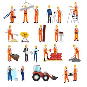 El diseño plano repara constructores del proceso de la construcción y el conjunto del equipo aislado en el fondo blanco vec