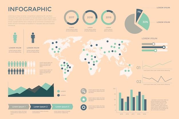 Diseño plano retro infografía
