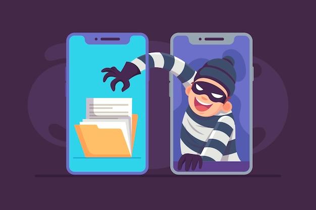 Diseño plano robar ilustración de datos con ladrón y teléfonos