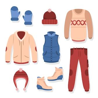 Diseño plano de ropa de abrigo de invierno.