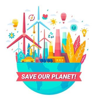 Diseño plano salva el concepto del planeta