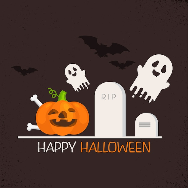 Diseño plano scary vector halloween background