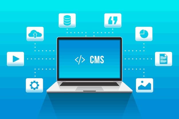 Diseño plano del sistema de gestión de contenido.