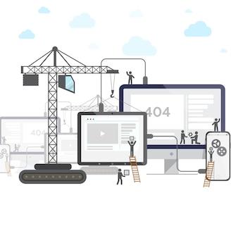 Diseño plano de sitio web en construcción.