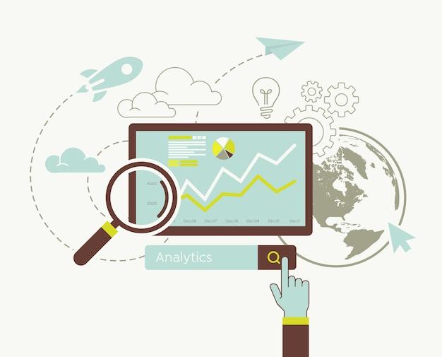 Diseño plano del sitio web de información de búsqueda analítica