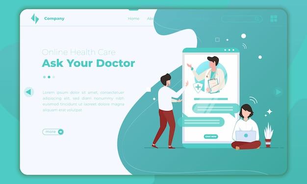 Diseño plano sobre la atención médica en línea en la plantilla de página de destino