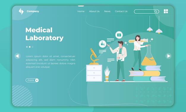 Diseño plano sobre laboratorio médico en plantilla de página de destino