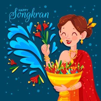 Diseño plano songkran mujer sosteniendo flores