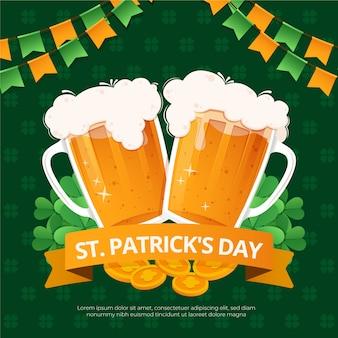 Diseño plano st. borradores de cervezas del día de patrick
