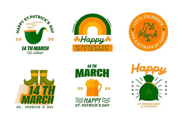 Diseño plano st. colección de insignias del día de patricks