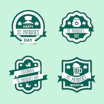 Diseño plano st. concepto de colección de etiquetas del día de patricks