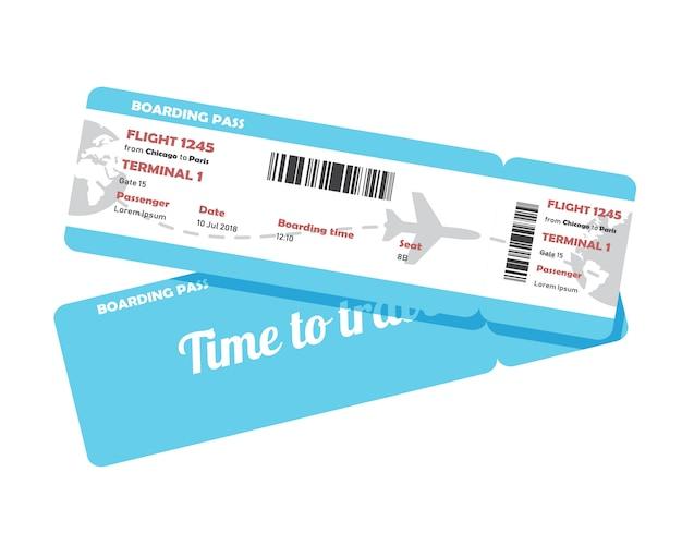 Diseño plano de la tarjeta de embarque de viaje de la aerolínea.
