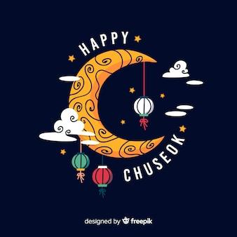 Diseño plano tarjeta de felicitación de chuseok con luna.