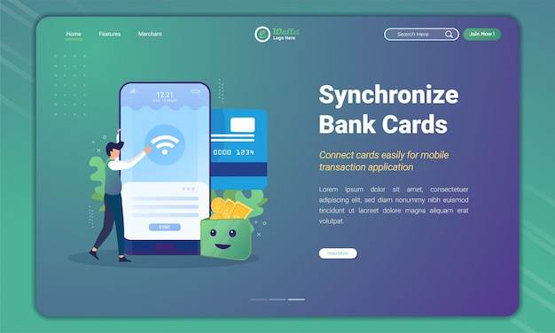 Diseño plano de la tarjeta de sincronización bancaria para la aplicación de billetera electrónica en la plantilla de página de destino