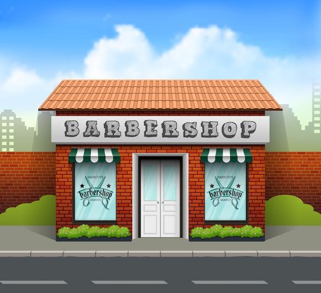 Diseño plano tienda de barbería.