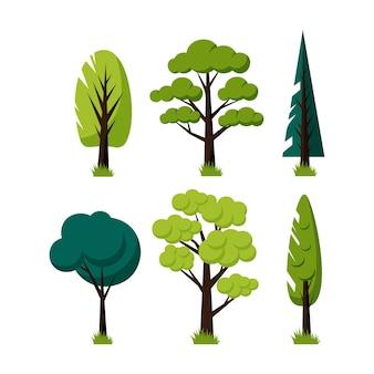 Diseño plano tipo verde de árboles.