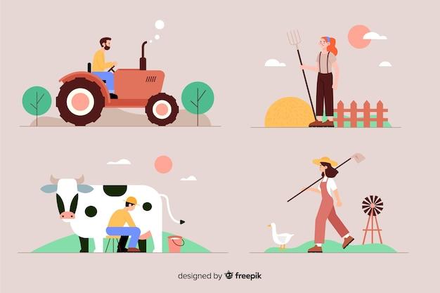 Diseño plano de trabajadores agrícolas.