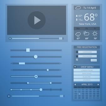 Diseño plano de transparencia de interfaz de usuario de elementos web. configuración y menú del sitio web, clima y control, cuenta y datos, página web y reproductor de video.