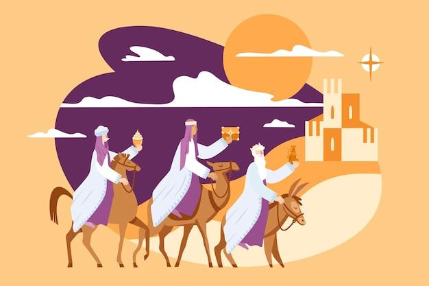 Diseño plano tres reyes magos