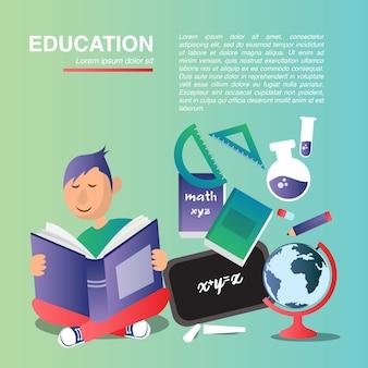 Diseño plano del vector de la educación