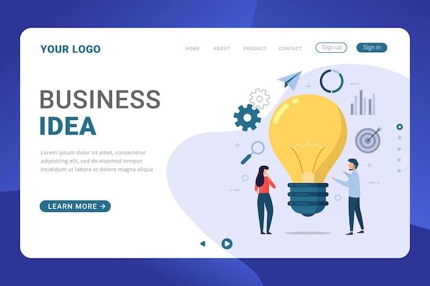 Diseño plano de vector de idea de negocio de plantilla de página de destino