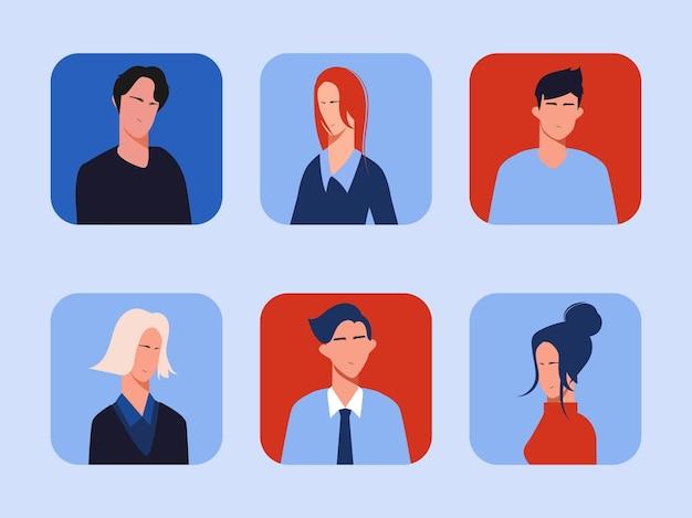 Diseño plano de vector de ilustración de colección de personas