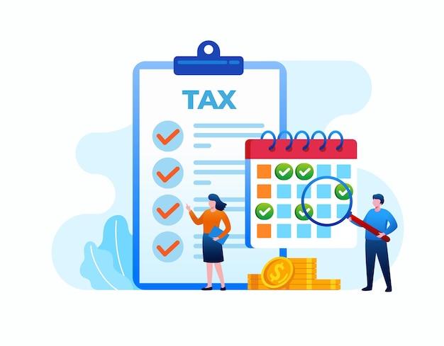 Diseño plano de vector de ilustración de horario de impuestos