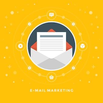 Diseño plano vector negocio ilustración concepto e-mail marketing