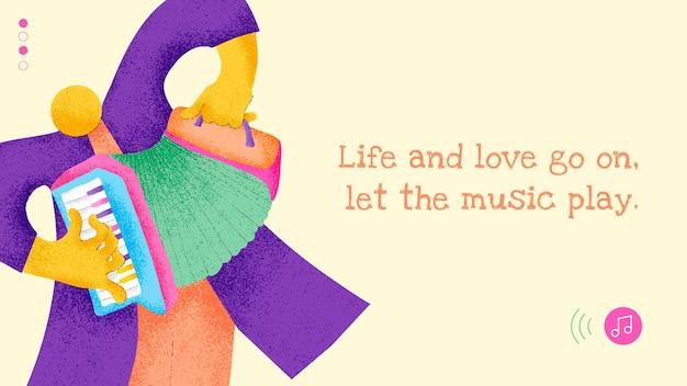 Diseño plano de vector de plantilla de banner de músico con cita musical inspiradora