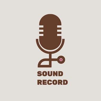 Diseño plano vectorial de logotipo de micrófono editable con texto de grabación de sonido
