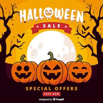 Diseño plano de venta de calabaza de halloween