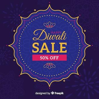 Diseño plano de venta de diwali azul