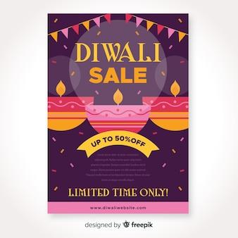 Diseño plano de venta de diwali para plantilla de volante