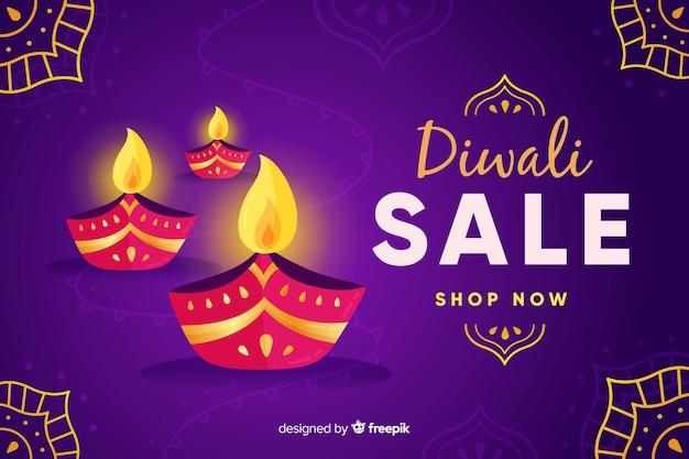 Diseño plano de venta de diwali
